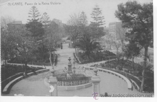 ALICANTE. PASEO DE LA REINA VICTORIA. 1703 FOTOTIPIA THOMAS BARCELONA. SIN CIRCULAR. REVERSO DIVIDID (Postales - España - Comunidad Valenciana Antigua (hasta 1939))