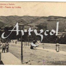 Postales: INTERESANTE Y RARA POSTAL - ALCOY (ALICANTE) - PUENTE DE CRISTINA - AMBIENTADA. Lote 34219362