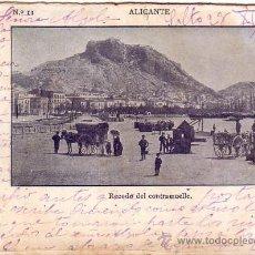 Postales: ANTIGUA POSTAL DE ALICANTE, RECODO DEL CONTRAMUELLE - MUELLE, CIRCULADA AÑO 1902, SELLOS DE URUGUAY . Lote 34954498