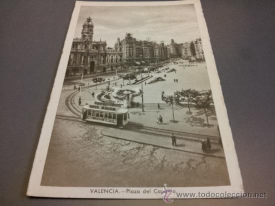 POSTAL VALENCIA PLAZA CAUDILLO TRANVÍAS ED. JDP CIRCULADA 1952 (Postales - España - Comunidad Valenciana Moderna (desde 1940))