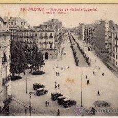 Postales: POSTAL DE VALENCIA,AVENIDA DE VITORIA EUGENIA, NO CIRCULADA. Lote 36123408
