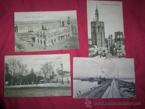 4 POSTALES VALENCIA (Postales - España - Comunidad Valenciana Antigua (hasta 1939))