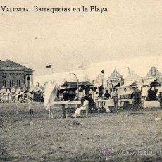 Postales: POSTAL DE VALENCIA,BARRAQUETAS EN LA PLAYA, ESCRITA. Lote 36409140