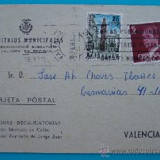 Postales: TARJETA POSTAL, ARBITRIOS MUNICIPALES VALENCIA 1980, RECAUDACION POR RECOGIDA DE BASURA,. Lote 38187473