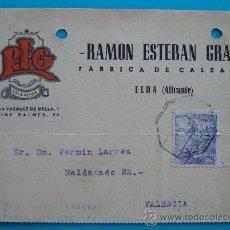 Postales: TARJETA POSTAL DE ALICANTE A VALENCIA 3 MAYO 1945, RAMON ESTEBAN GRAS FABRICA DE CALZADO. Lote 38187981
