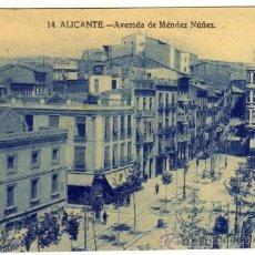 Postales: BONITA Y RARA POSTAL - ALICANTE - AVENIDA DE MENDEZ NUÑEZ - AMBIENTADA . Lote 38402004
