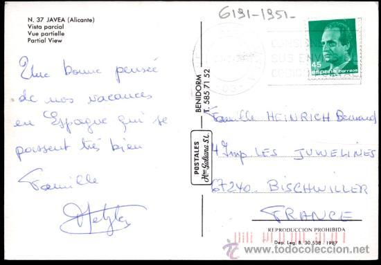 Postales: N. 37 - JAVEA (Alicante).- Vista parcial - Foto 2 - 38530556