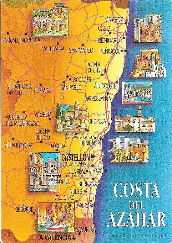 Mapa Costa Comunidad Valenciana.Costa Del Azahar Mapa Escudo De Oro Nº 49 Vendido En