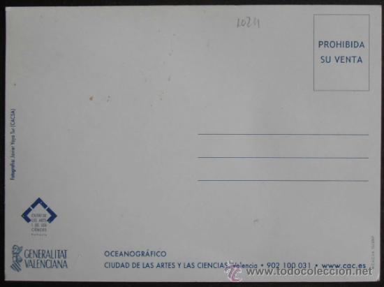 Postales: (1024)POSTAL SIN CIRCULAR,OCEONOGRAFICO, CIUDAD DE LAS ARTES Y LAS CIENCIAS,VALENCIA,VALENCIA,COMUNI - Foto 2 - 38832654