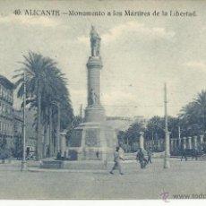 Postales: ANTIGUA POSTAL DE ALICANTE -MONUMENTO A LOS MARTIRES POR LA LIBERT - PAPELERIA MARIMON, SIN CIRCULAR. Lote 39905226
