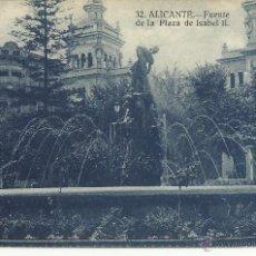 Postales: ANTIGUA POSTAL DE ALICANTE -FUENTE DE LA PLAZA ISABEL II- PAPELERIA MARIMON, SIN CIRCULAR. Lote 39905553
