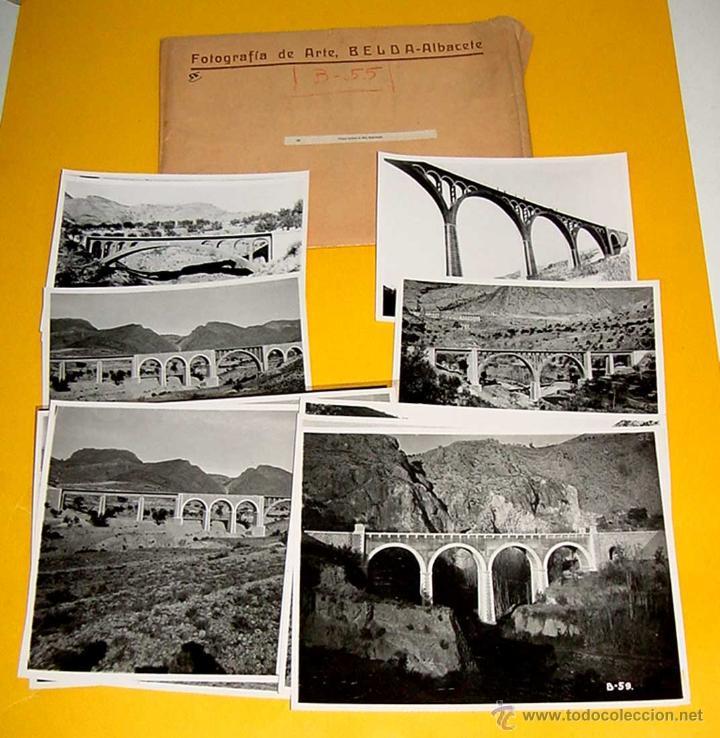 ANTIGUO LOTE DE 13 FOTOGRAFIAS DE LOS PUENTES SOBRE EL RIO BARCHELL - ALCOY, ALICANTE - FOTOGRAFIA D (Postales - España - Comunidad Valenciana Antigua (hasta 1939))