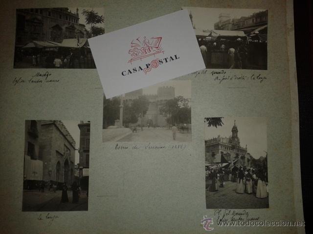 Postales: Lote de 44 fotografias de Valencia 1903, mercados, calles, tranvias, carteles toros, etc. - Foto 7 - 40280833