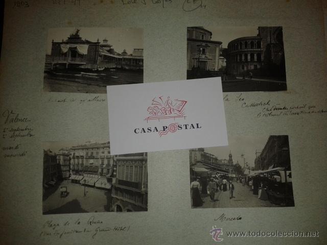 Postales: Lote de 44 fotografias de Valencia 1903, mercados, calles, tranvias, carteles toros, etc. - Foto 9 - 40280833