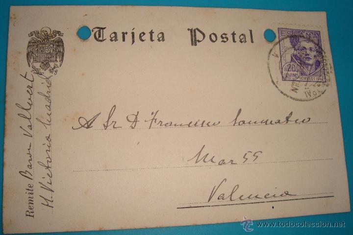 TARJETA POSTAL FIRMADA POR EL BARON VALLVERT FECHADA 19 ENERO DE 1943 VALENCIA MADRID (Postales - España - Comunidad Valenciana Moderna (desde 1940))