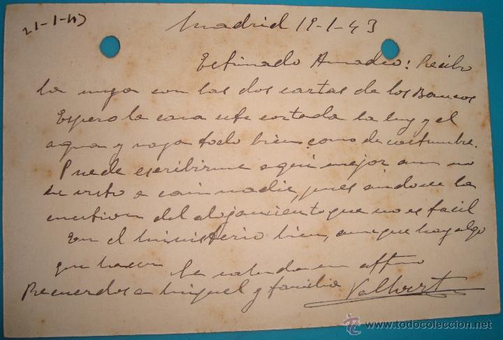 Postales: TARJETA POSTAL FIRMADA POR EL BARON VALLVERT FECHADA 19 ENERO DE 1943 VALENCIA MADRID - Foto 2 - 40548724