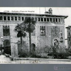 Postales: JÁTIVA FACHADA Y PLAZA DEL HOSPITAL - EDICIÓN VIDAL FUSTER - POSTAL. Lote 41120304