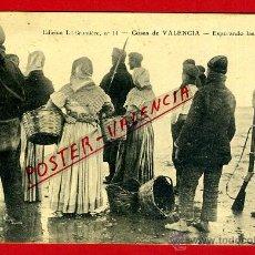 Postales: POSTAL VALENCIA, CRUMIERE, COSAS DE VALENCIA , ESPERANDO LAS BARCAS ,PLAYA , ORIGINAL ,P92287. Lote 41129109