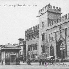Postales: POSTAL DE VALENCIA - LA LONZA Y PLAZA DEL MERCADO. Lote 43689534