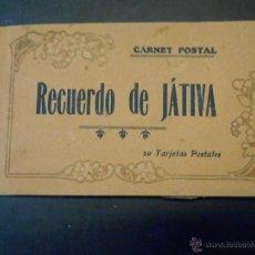 Postales: JATIVA - CARNET POSTAL - 20 TARJETAS - ANIMACION - PUBLICIDAD DE BAZAR VIDAL EN CONTRAPORTADA. Lote 43866629