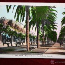 Cartoline: ANTIGUA POSTAL DE ALICANTE. PASEO DE GOMIZ Y CASTILLO DE SAN BERNARDO. FOT. L. ROISIN. SIN CIRCULAR. Lote 45308243