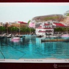 Postales: ANTIGUA FOTO POSTAL DE ALICANTE. PUERTO Y CLUB DE REGATAS. FOT. L. ROISIN. SIN CIRCULAR. Lote 45309212