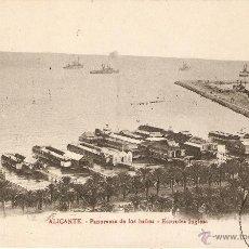 Postales: ALICANTE - PANORAMA DE LOS BAÑOS - ESCUADRA INGLESA 54 BAZAR ARCA DE NOÉ CIRCULADA 1913. Lote 45499827