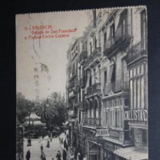 Postales: ANTIGUA POSTAL DE VALENCIA. BAJADA DE SAN FRANCISCO Y PARQUE EMILIO CASTELAR. FOTPIA. THOMAS. Lote 45843203
