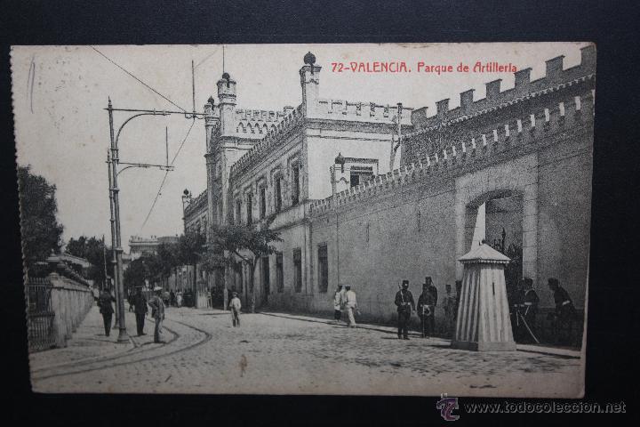 ANTIGUA POSTAL DE VALENCIA. PARQUE DE ARTILLERIA. FOTPIA. THOMAS. CIRCULADA (Postales - España - Comunidad Valenciana Antigua (hasta 1939))