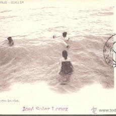 Postales: POSTAL ALICANTE .-JUGANDO CON LAS OLAS - COLECCION ASENJO SERIE 1ª. NUM. 9 FOT- LAURENT. Lote 45976276