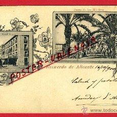 Postales: POSTAL RECUERDO DE ALICANTE , TIPO GRUSS , REVERSO SIN PARTIR , ORIGINAL, P97113. Lote 46404971