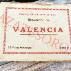 Postales: FOTOGRAFIAS ARTISTICAS RECUERDO DE VALENCIA - 10 VISTAS MINIATURA SERIE A. Lote 46430509