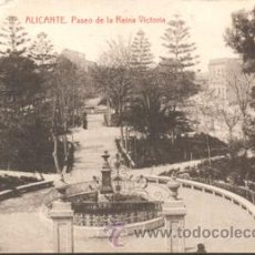 Postales: POSTAL ALICANTE PASEO REINA VICTORIA ESCRITA LE FALTA UN TROCITO EN LA PARTE ARRIBA Y ABAJO IZQUIERD. Lote 47669243
