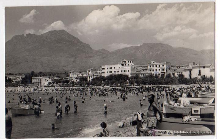 TARJETA POSTAL BENIDORM. VISTA PLAYA DEL SUR. FOTOGRAFIA H.G. AÑOS 50 (Postales - España - Comunidad Valenciana Moderna (desde 1940))