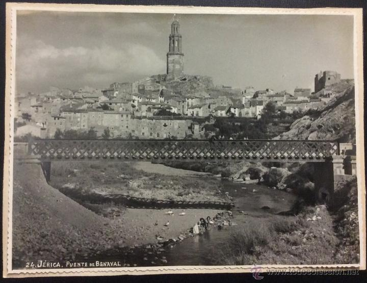 JÉRICA. PUENTE DE BENAVAL. LAVANDERAS EN EL RIO. 17 X 23 CM. SOBRE CARTÓN. (Postales - España - Comunidad Valenciana Antigua (hasta 1939))