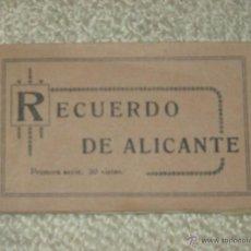 Postales: RECUERDO DE ALICANTE. CARNET 20 POSTALES COMPLETO. PRIMERA SERIE. MARIMÓN. Lote 49984749