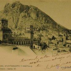 Postales: TORRES DEL AYUNTAMIENTO Y CASTILLO - FOTOGRAFIA IMPRESA CIRCULADA Y DORSO SIN DIVIDIR. Lote 50291131