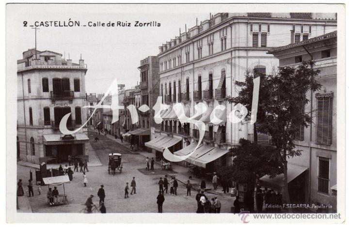 BONITA POSTAL FOTOGRAFICA - CASTELLON - CALLE DE RUIZ ZORRILLA - AMBIENTADA - COCHE DE CABALLO (Postales - España - Comunidad Valenciana Antigua (hasta 1939))