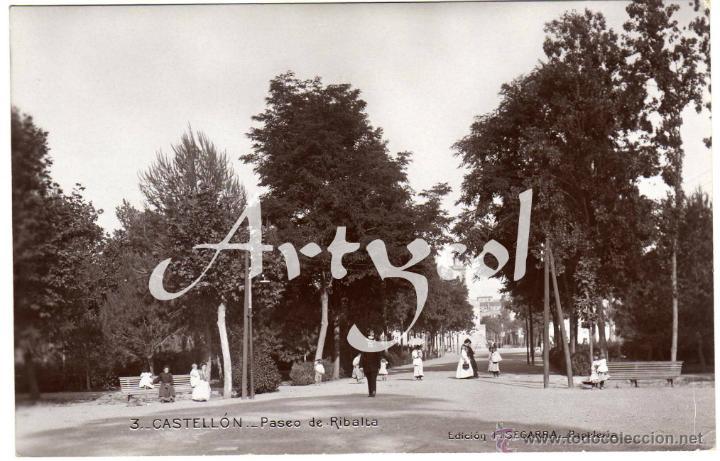 MAGNIFICA POSTAL FOTOGRAFICA - CASTELLON - PASEO DE RIBALTA - AMBIENTADA (Postales - España - Comunidad Valenciana Antigua (hasta 1939))