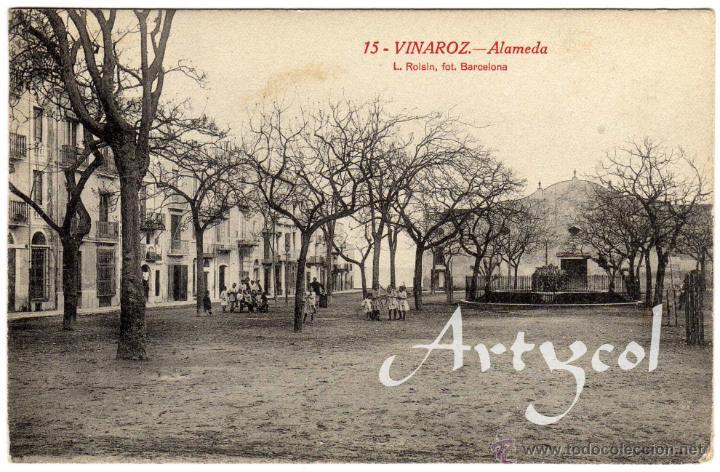 BONITA Y RARA POSTAL - VINAROZ (CASTELLON) - ALAMEDA - AMBIENTADA (Postales - España - Comunidad Valenciana Antigua (hasta 1939))