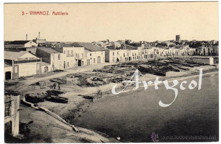 BONITA POSTAL - VINAROZ (CASTELLON) - ASTILLERO - AMBIENTADA (Postales - España - Comunidad Valenciana Antigua (hasta 1939))