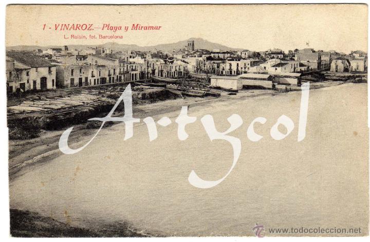 BONITA POSTAL - VINAROZ (CASTELLON) - PLAYA Y MIRAMAR (Postales - España - Comunidad Valenciana Antigua (hasta 1939))
