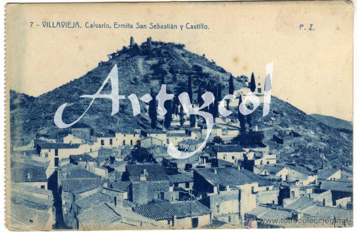 PRECIOSA POSTAL - VILLAVIEJA (CASTELLON) - CALVARIO - ERMITA SAN SEBASTIAN Y CASTILLO (Postales - España - Comunidad Valenciana Antigua (hasta 1939))