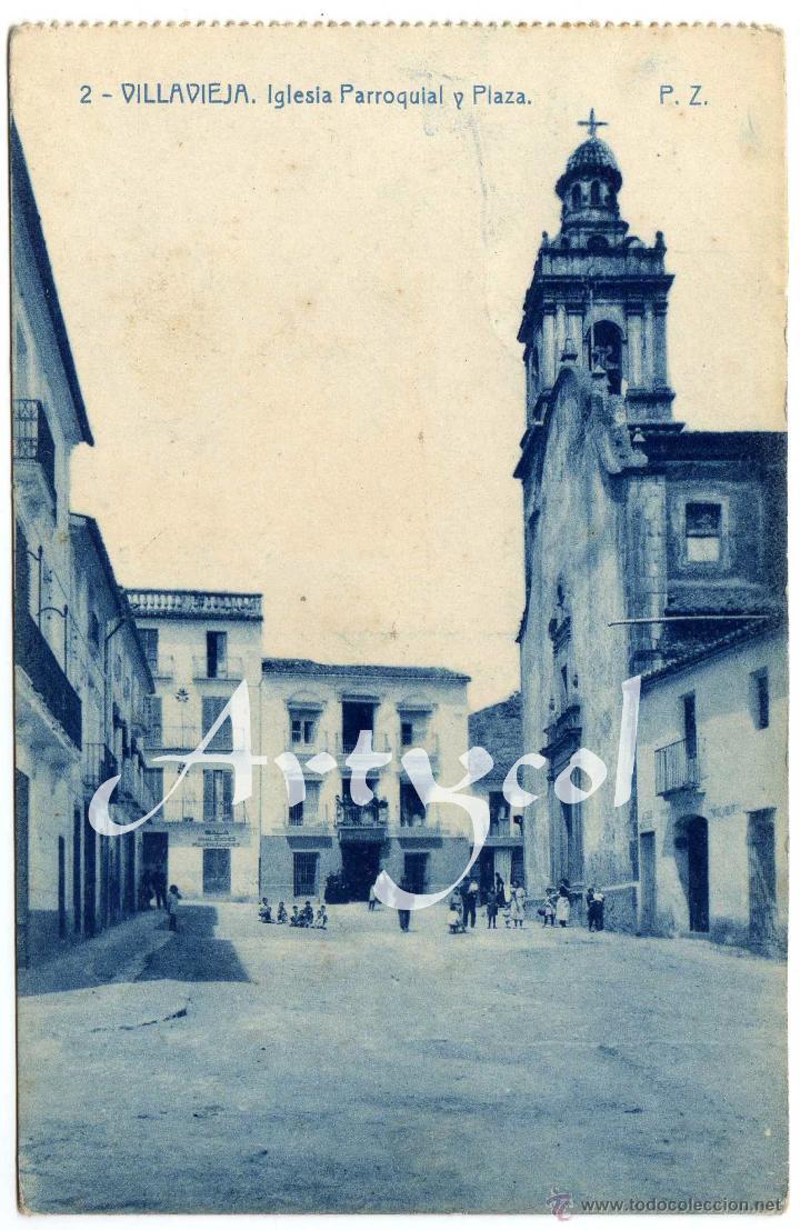 PRECIOSA POSTAL - VILLAVIEJA (CASTELLON) - IGLESIA PARROQUIAL Y PLAZA - AMBIENTADA (Postales - España - Comunidad Valenciana Antigua (hasta 1939))