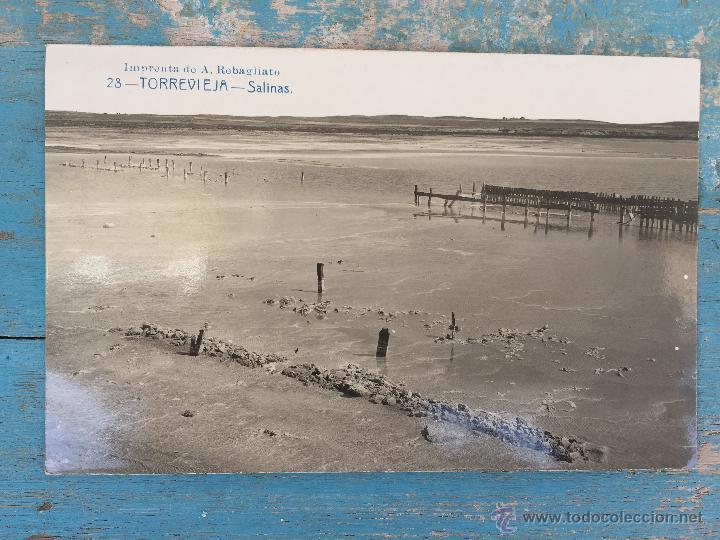 ANTIGUA Y PRECIOSA POSTAL DE - TORREVIEJA Nº 28 - SALINAS - IMPRENTA DE REBAGLIATO - EDITOR ANDRES F (Postales - España - Comunidad Valenciana Antigua (hasta 1939))