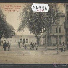 Postales: GANDIA - 1 - AVENIDA MARQUES DE CAMPO Y ESTACION FERROCARRIL - THOMAS - (36946). Lote 52158658