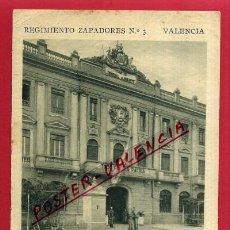 Postales: POSTAL VALENCIA, REGIMIENTO ZAPADORES, DETALLE FACHADA, P82337. Lote 53330033