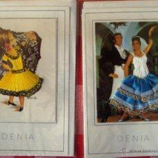 Postales: TARJETAS POSTALES TIPICAS ESPAÑOLAS FLAMENCO BORDADO SOBRE PAPEL DENIA . Lote 53530606