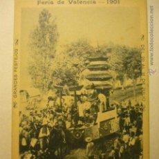 Postales: POSTAL FERIA DE VALENCIA 1901- DEL 20 AL 31 JULIO CABALGATA 1899--BB. Lote 53814110