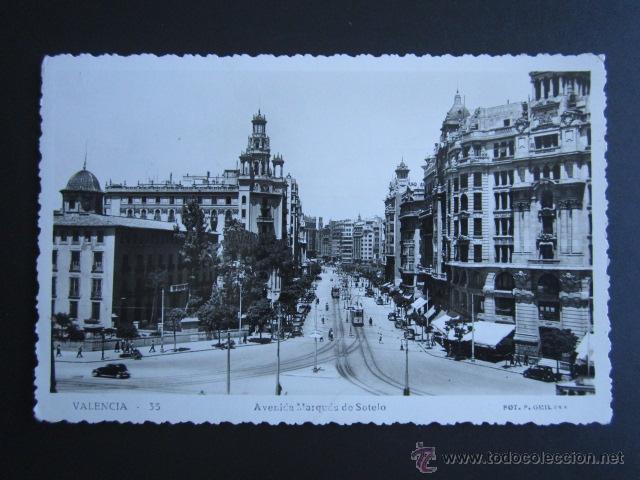 POSTAL VALENCIA. AVENIDA MARQUÉS DE SOTELO. (Postales - España - Comunidad Valenciana Moderna (desde 1940))